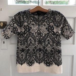 J.Crew Lace Print Half Sleeve Sweatshirt